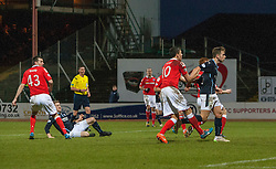 Dundee's James McAlister, on ground, scoring their goal. <br /> Dundee 1 v 1 Ross County, SPFL Premiership game player 4/1/2015 at Dundee's home ground Dens Park.
