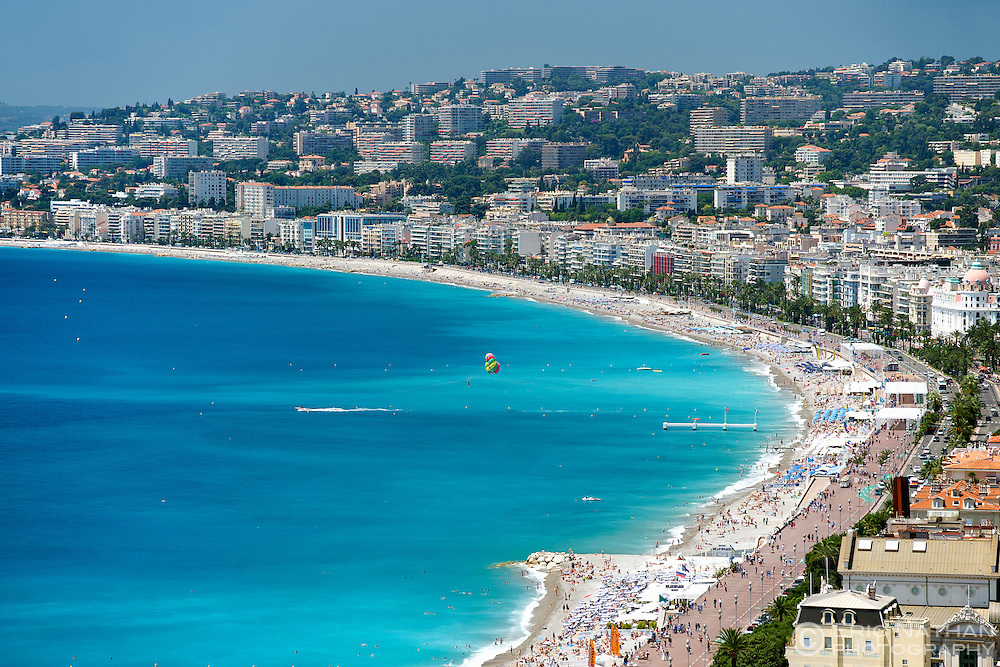 The Baie des Anges (Bay of Angels) in Nice on the French Riviera along the Meditterranean coast in southern France.