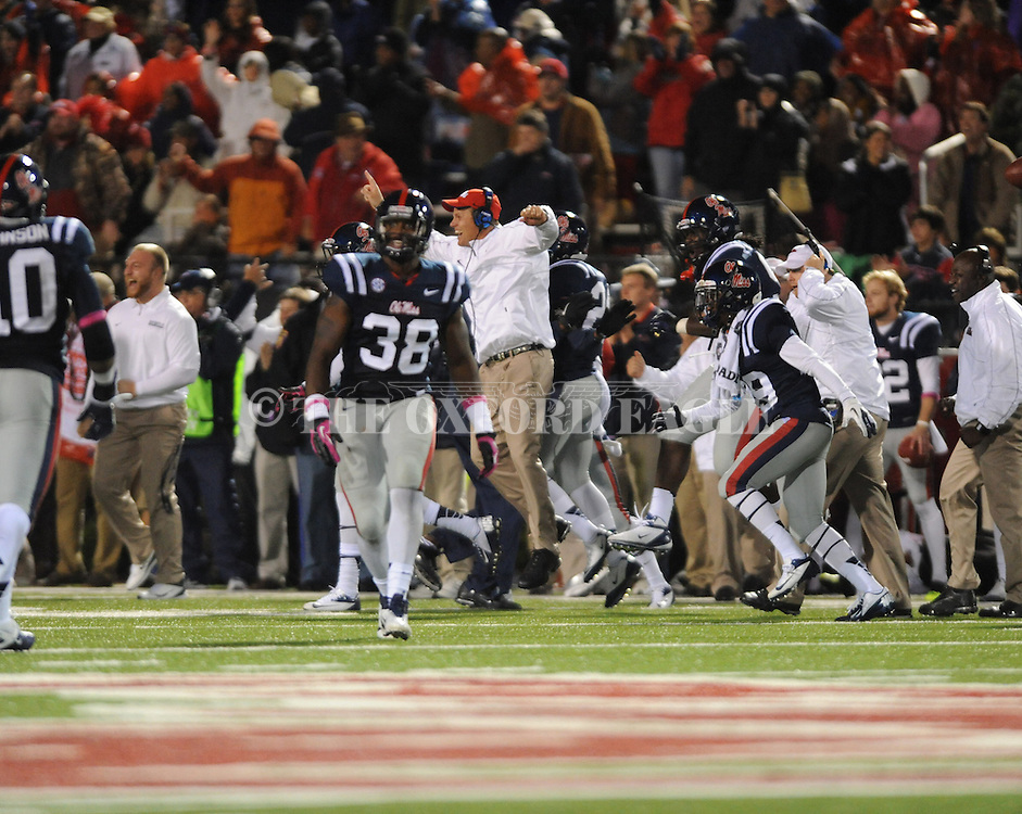 Ole Miss bench celebrates Ole Miss defensive back Cody Prewitt (25) interception vs. Texas A&M at Vaught-Hemingway Stadium in Oxford, Miss. on Saturday, October 6, 2012. Texas A&M rallied from a 27-17 4th quarter deficit to win 30-27.