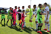 Respect handshake during the Vanarama National League Play Off second leg match between Forest Green Rovers and Dagenham and Redbridge at the New Lawn, Forest Green, United Kingdom on 7 May 2017. Photo by Shane Healey.