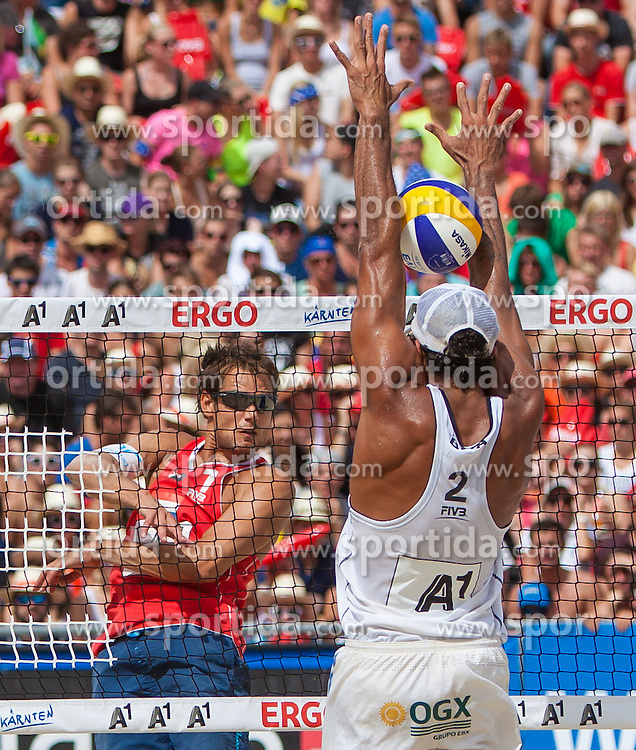 "22.07.2012, Klagenfurt, Strandbad, AUT, Beachvolleyball World Tour Grand Slam 2012, im Bild Reinder Nummerdor 1 NED, Pedro Salgado Petro 2 BRA // during the A1 Beachvolleyball Grand Slam 2012 at the ""Strandbad"" Klagenfurt, Austria on 2012/07/22. EXPA Pictures © 2012, EXPA Pictures © 2012, PhotoCredit: EXPA/ Mag. Gert Steinthaler"