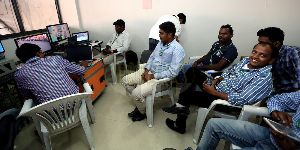 LED Staff room during match 33 of the Indian Super League (ISL) season 2  between FC Pune City and FC Goa held at the Shree Shiv Chhatrapati Sports Complex Stadium, Pune, India on the 8th November 2015.<br /> <br /> Photo by Sandeep Shetty / ISL/ SPORTZPICS