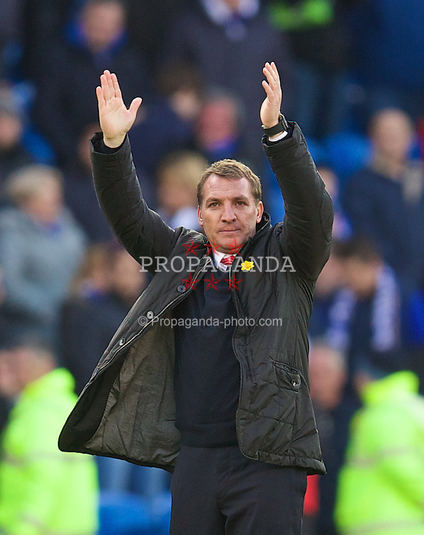 CARDIFF, WALES - Saturday, March 22, 2014: Liverpool's manager Brendan Rodgers after the 6-3 victory over Cardiff City during the Premiership match at the Cardiff City Stadium. (Pic by David Rawcliffe/Propaganda)