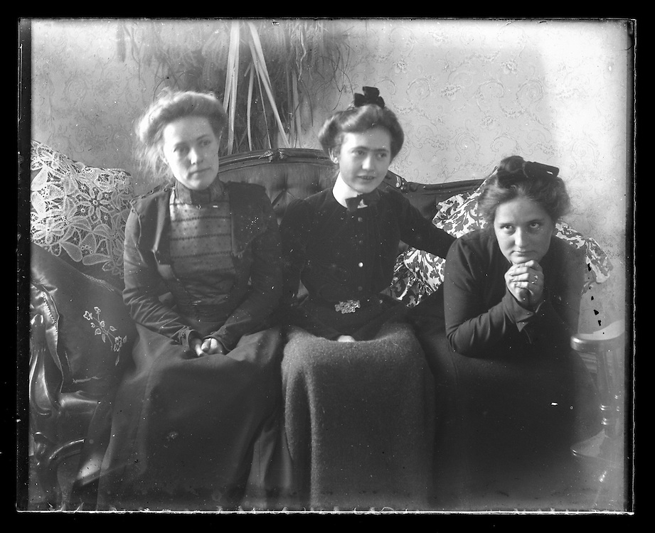 Victorian photograph of three women on a couch in their home in Fallston, Maryland.