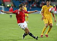 Fotball , 9. september 2009 <br /> Norge- Makedonia 2-1<br /> Norway-Macedonia<br /> VM-kvalifisering<br /> Henning Hauger, Norge og Goran Popov , Makedonia
