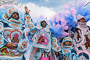NEW ORLEANS, LA - FEBRUARY 28:  The Cheyenne Mardi Gras Indians greet another Uptown tribe on February 28, 2017 in New Orleans, Louisiana.  (Photo by Erika Goldring/Getty Images)