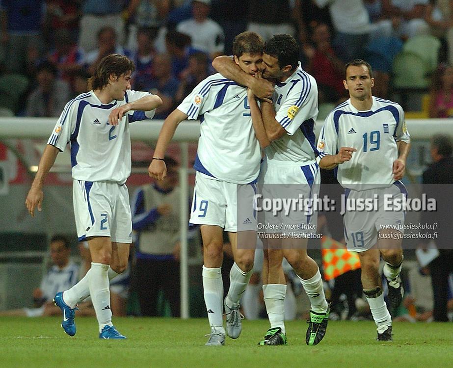 Greek players celebrate v France 25.6.2004.&amp;#xA;Euro 2004.&amp;#xA;Photo: Jussi Eskola<br />