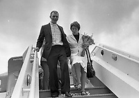 Fr Niall O'Brien pictured at Dublin Airport on Arrival from Amsterdam Airport, circa July 1984 (Part of the Independent Newspapers Ireland/NLI Collection).