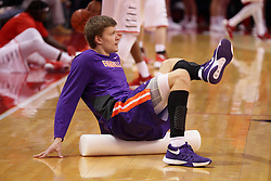 15 January 2016: Egidijus Mockevicius(55) uses a foam noodle to stretch out before the Illinois State Redbirds v Evansville Purple Aces at Redbird Arena in Normal Illinois (Photo by Alan Look)