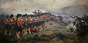 The Thin Red Line, October 1854, painting by Robert Gibb, 1845-1932, depicting the 93rd Sutherland Highlanders awaiting the onslaught of the Russian cavalry at Balaclava, during the Crimean War, in the collection at Stirling Castle, with current buildings dating to 15th and 16th centuries, on Castle Hill, in Stirling, Scotland. The castle is listed as a scheduled ancient monument and is run by Historic Environment Scotland. Picture by Manuel Cohen