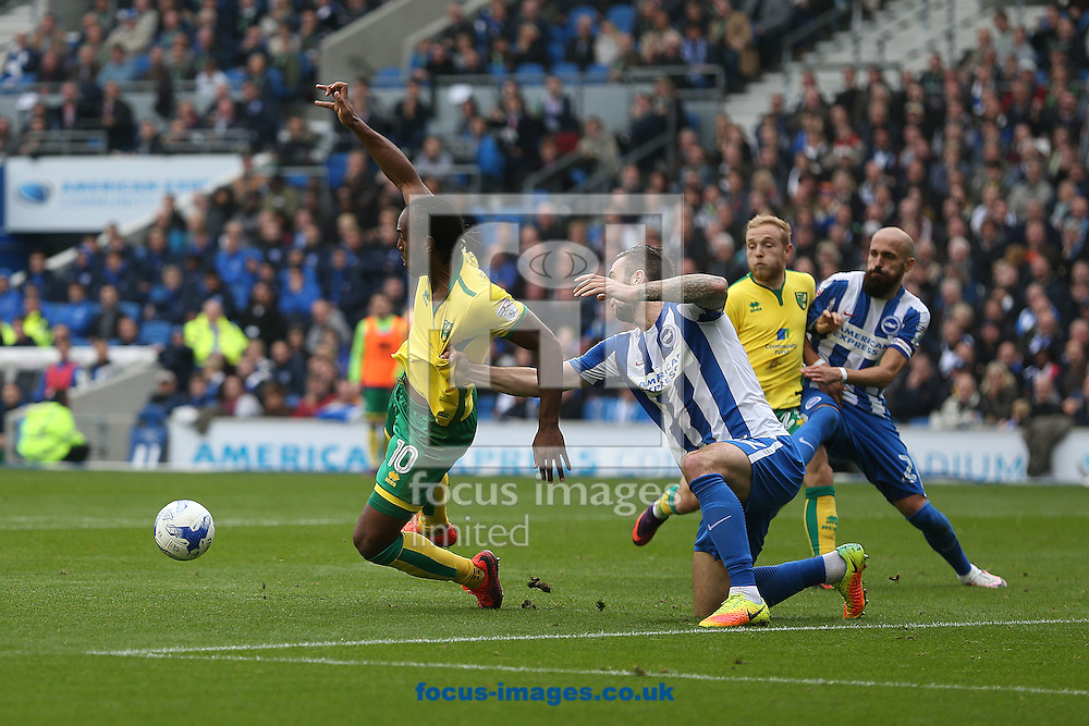 Cameron Jerome of Norwich is pulled down in the area by Shane Duffy of Brighton &amp; Hove Albion during the Sky Bet Championship match at the American Express Community Stadium, Brighton and Hove<br /> Picture by Paul Chesterton/Focus Images Ltd +44 7904 640267<br /> 29/10/2016