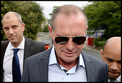 Former England footballer Paul Gascoigne arriving at Stevenage Magistrates Court in Hertfordshire, Monday, 5th August 2013.<br /> Picture by Andrew Parsons / i-Images