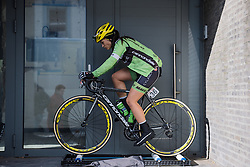 Rachel Barbieri warms up on the rollers - Le Samyn des Dames 2016, a 113km road race from Quaregnon to Dour, on March 2, 2016 in Hainaut, Belgium.