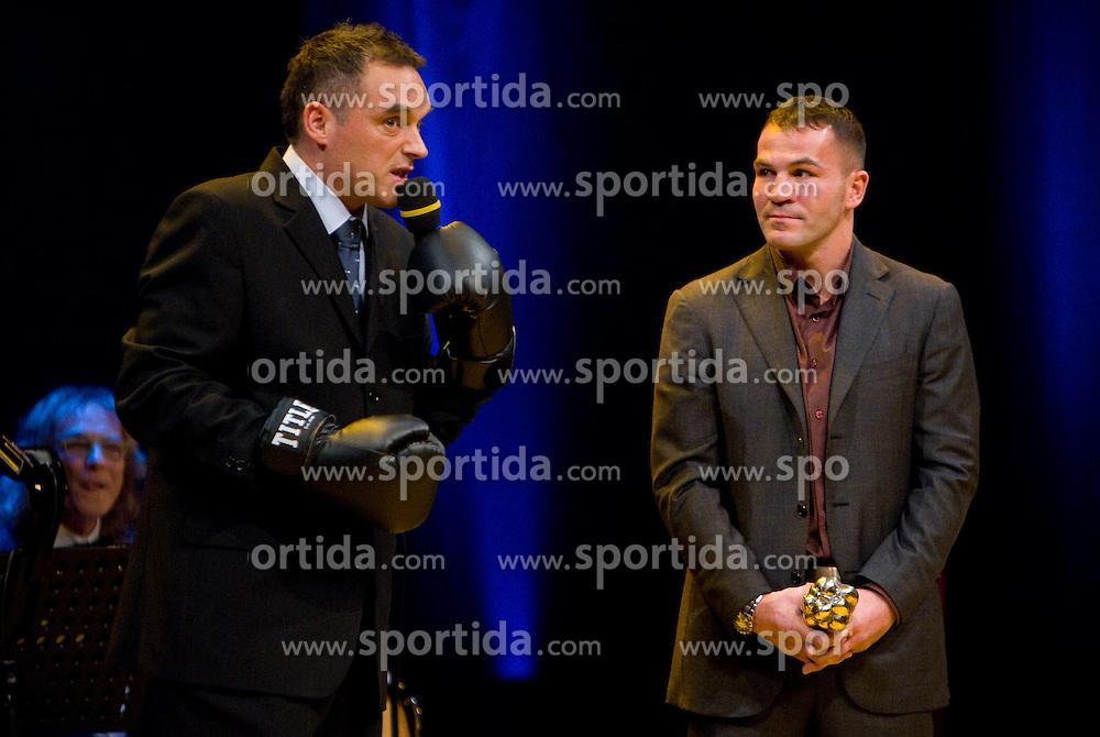Gasper Bolhar and Dejan Zavec with his trophy at Slovenian Sportsman of the year and Slovenian Sportswoman of the year 2010 annual awards presented on the base of Slovenian sports reporters, on December 22, 2010 in Cankarjev dom, Ljubljana, Slovenia. (Photo By Vid Ponikvar / Sportida.com)