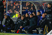 Rangers Manager Steven Gerrard sits in the dug out after his side concedes a goal inside 3 mins during the William Hill Scottish Cup quarter final replay match between Rangers and Aberdeen at Ibrox, Glasgow, Scotland on 12 March 2019.