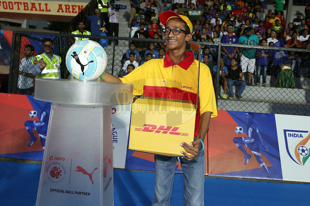 DHL boy arrives to deliver the match ball before the match 7 of the Indian Super League (ISL) season 3 between Mumbai City FC and NorthEast United FC held at the Mumbai Football Arena in Mumbai, India on the 7th October 2016.<br /> <br /> Photo by Faheem Hussain / ISL/ SPORTZPICS