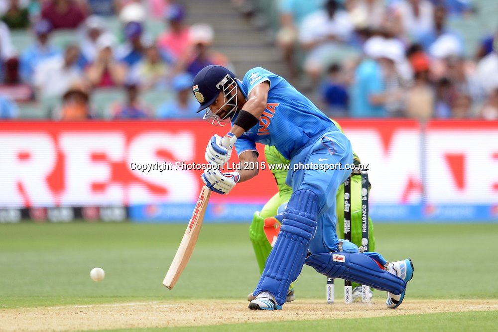 Indian batsman Virat Kohli in action during the ICC Cricket World Cup match between India and Pakistan at Adelaide Oval in Adelaide, Australia. Sunday 15 February 2015. Copyright Photo: Raghavan Venugopal / www.photosport.co.nz