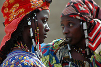 BURKINA FASO, Gorom-Gorom, 2007. Fulani women arrive early at Gorom-Gorom's Thursday market, which serves the whole region