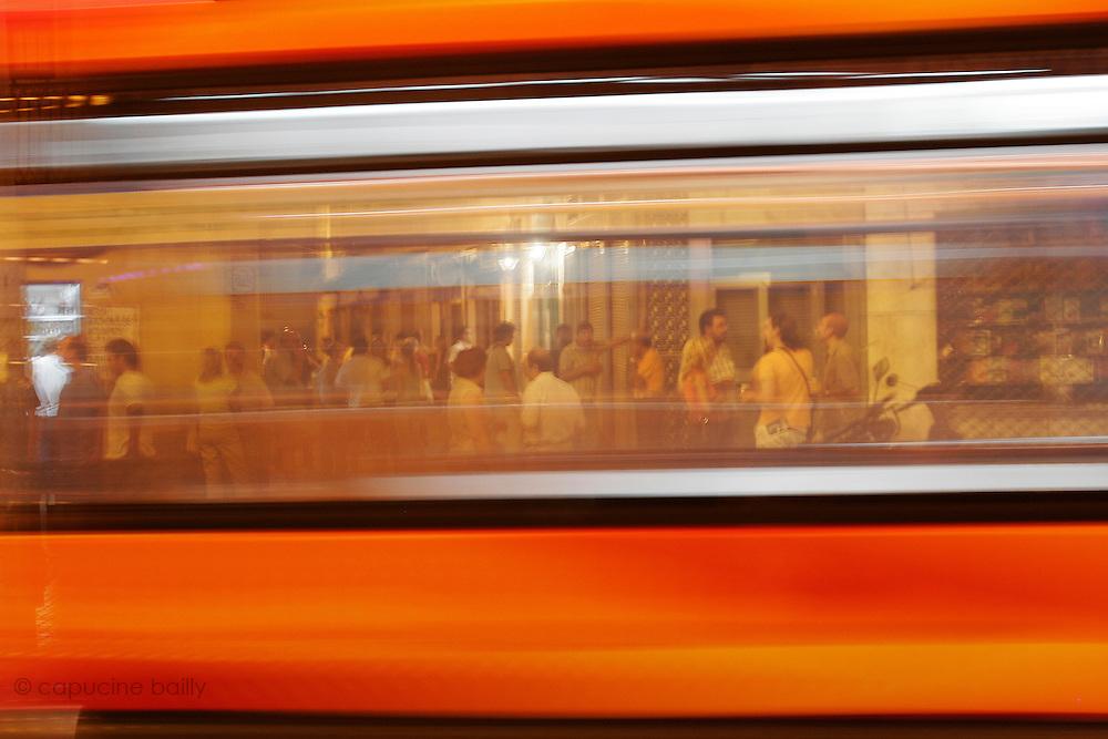 August 15th 2005. Sevilla, Spain..A street scene through a bus.