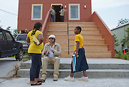"""5/31/2010 , Brad Pitt  at his """"Make it Right"""" housing complex in New Orleans Lower 9th Ward, participating in a Spike Lee' film."""