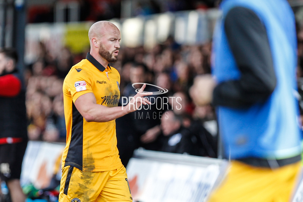 David Pipe of Newport County during the EFL Sky Bet League 2 match between Newport County and Crawley Town at Rodney Parade, Newport, Wales on 1 April 2017. Photo by Andrew Lewis.