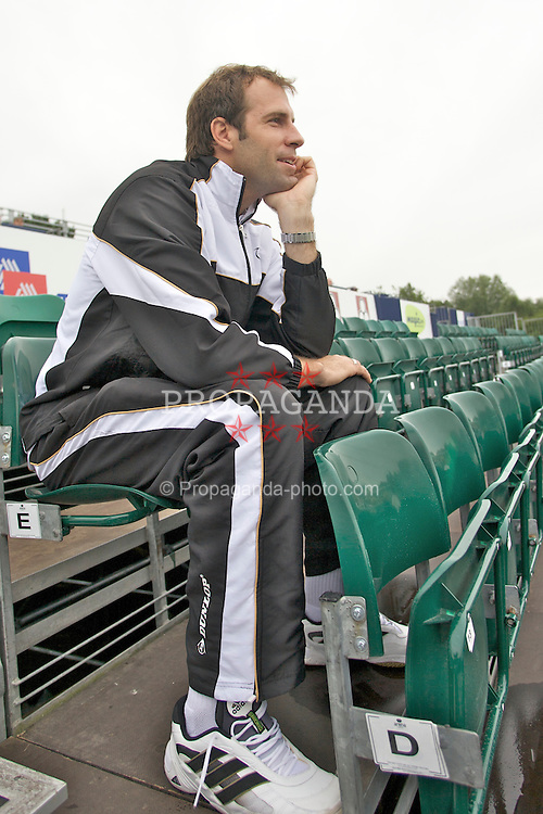 Liverpool, England - Tuesday, June 12, 2007: Greg Rusedski (GBR) watches the opening game from the stands during day one of the Liverpool International Tennis Tournament at Calderstones Park. For more information visit www.liverpooltennis.co.uk. (Pic by David Rawcliffe/Propaganda)