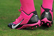 Tampa Bay Buccaneers players wearing pink shoes in honor of Breast Cancer Awareness during the Bucs loss to the Philadelphia Eagles 31-20 win on Oct. 13, 2013 in Tampa, Florida. <br /> <br /> &copy;2013 Scott A. Miller