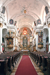 Wachau Valley, Austria:  Interior views of the Durnstein Monastery chuch, built between 1720-1733 in the baroque style.  Durnstein retains its historic character and air of romance, one of the most popular stops on the Danube on a cruise between Melk and Durnstein.