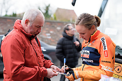 Defending champion, Chantal Blaak spends some time with the autograph hunters at the 112.8 km Le Samyn des Dames on March 1st 2017, from Quaregnon to Dour, Belgium. (Photo by Sean Robinson/Velofocus)