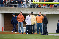 Virginia Cavaliers head football coach Al Groh )left) with several of his former players including Matt Schaub and Wali Lundy.  The University of Virginia Football Team played their Spring game at Scott Stadium in Charlottesville, VA on April 14, 2007.