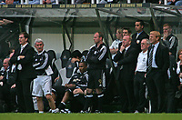 Photo: Andrew Unwin.<br /> Newcastle United v Glasgow Celtic. Alan Shearer Testimonial. 11/05/2006.<br /> Newcastle's Glenn Roeder (L) and Alan Shearer (C), and Celtic's Gordon Strachan (R).