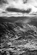Kirkstone Pass inn and the Windermere fells from Red Screes, Kirkstone Pass, Cumbria, the Lake District.