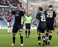 Photo: Paul Greenwood/Richard Lane Photography. <br />Burnley v Cardiff City. Coca-Cola Championship. 26/04/2008. <br />Cardiff goalscorer Aaron Ramsey (L) celebrates