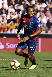 December 23, 2018 - Valencia, Spain - Akapo  of SD Huesca during  spanish La Liga match between Valencia CF vs SD Hueca at Mestalla Stadium on December 23, 2018. (Photo by Jose Miguel Fernandez/NurPhoto) (Credit Image: © Jose Miguel Fernandez/NurPhoto via ZUMA Press)