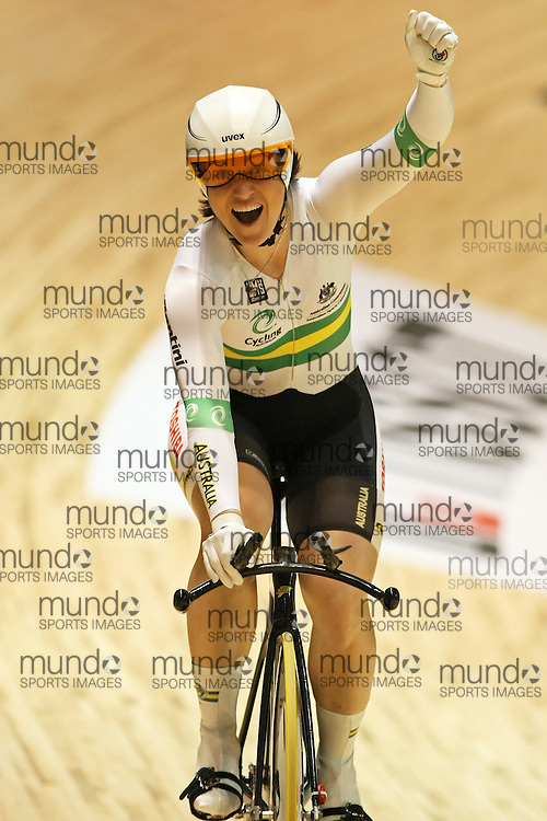 (Melbourne, Australia---8 April 2012) Anna Meares of Australia celebrates a world record in the women's 500m time trial at the 2012 UCI Track Cycling World Championships.Copyright 2012 Sean Burges / Mundo Sport Images.