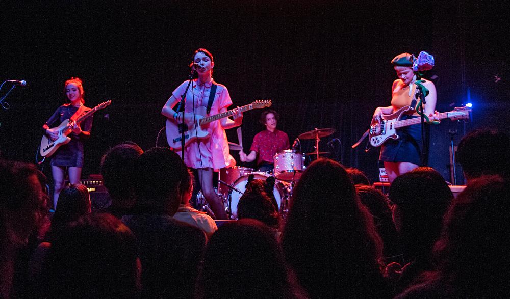 The Regrettes, Genessa Gariano, left, Lydia Night, Maxx Morando and Sage Nicole performing at The Constellation Room in Santa Ana, CA, April 19, 2017.