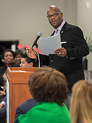 Dwight Boykins comments during a ribbon cutting ceremony at South Early College High School, October 8, 2016.