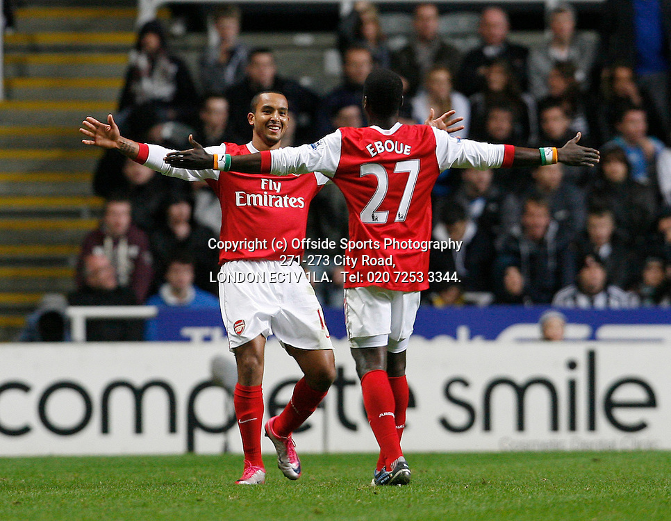 27/10/2010 Carling Cup 4th Rd.Newcastle United v Arsenal<br /> Theo Walcott celebrates scoring his 1st goal and arsenal;s 2nd with Emmanuel Eboue<br /> Photo: Mark Robinson.