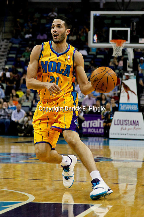 April 7, 2012; New Orleans, LA, USA; New Orleans Hornets point guard Greivis Vasquez (21) Minnesota Timberwolves during the first half of a game at the New Orleans Arena.   Mandatory Credit: Derick E. Hingle-US PRESSWIRE