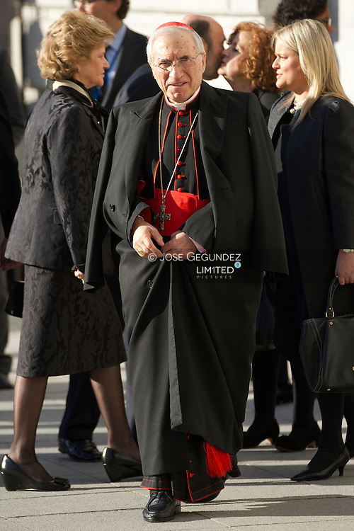 Rouco Varela attend Solemn Mass honoring and remembering the victims of the 10th annivrsary of the terrorist attacks of March 11, 2004 at Almudena Cathedral on March 11, 2014 in Madrid