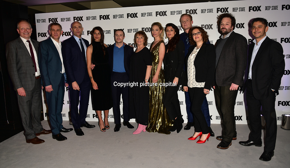 Matthew Parkhill, Mark Strong, Karima McAdams, Joe Dempsie, Hilary Bevan-Jones, Anastasia Griffith, Lyne Renee, Alistair Petrie, Tom Nash Attend the European Premiere Deep State at Curzon Soho on 15 March 2018, London, UK.