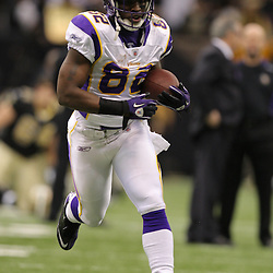 Jan 24, 2010; New Orleans, LA, USA; Minnesota Vikings wide receiver Darius Reynaud (82) on the field during warm ups before kickoff of a overtime victory by New Orleans Saints over the Minnesota Vikings in the 2010 NFC Championship game at the Louisiana Superdome. Mandatory Credit: Derick E. Hingle-US PRESSWIRE