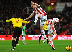 Ryan Shawcross of Stoke City heads the highball  - Mandatory by-line: Nizaam Jones/JMP - 31/01/2018 - FOOTBALL - Bet365 Stadium - Stoke-on-Trent, England - Stoke City v Watford - Premier League