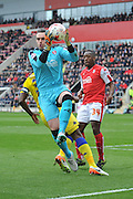 Rotherham United goalkeeper Lee Camp (1) takes ball  during the Sky Bet Championship match between Rotherham United and Leeds United at the New York Stadium, Rotherham, England on 2 April 2016. Photo by Ian Lyall.