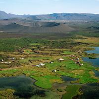 Vogar séð til suðausturs, Hverfjall, Skútustaðahreppur / Vogar viewing southeast, Hverfjall explosion crater, Skutustadahreppur.