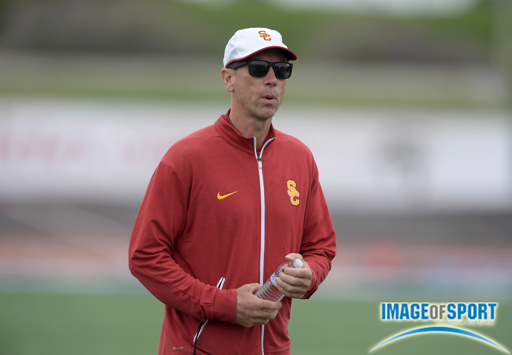 Apr 19, 2019; Torrance, CA, USA; Southern California Trojans distance coach Patrick Henner reacts during the 61st Mt. San Antonio College Relays at El Camino College.