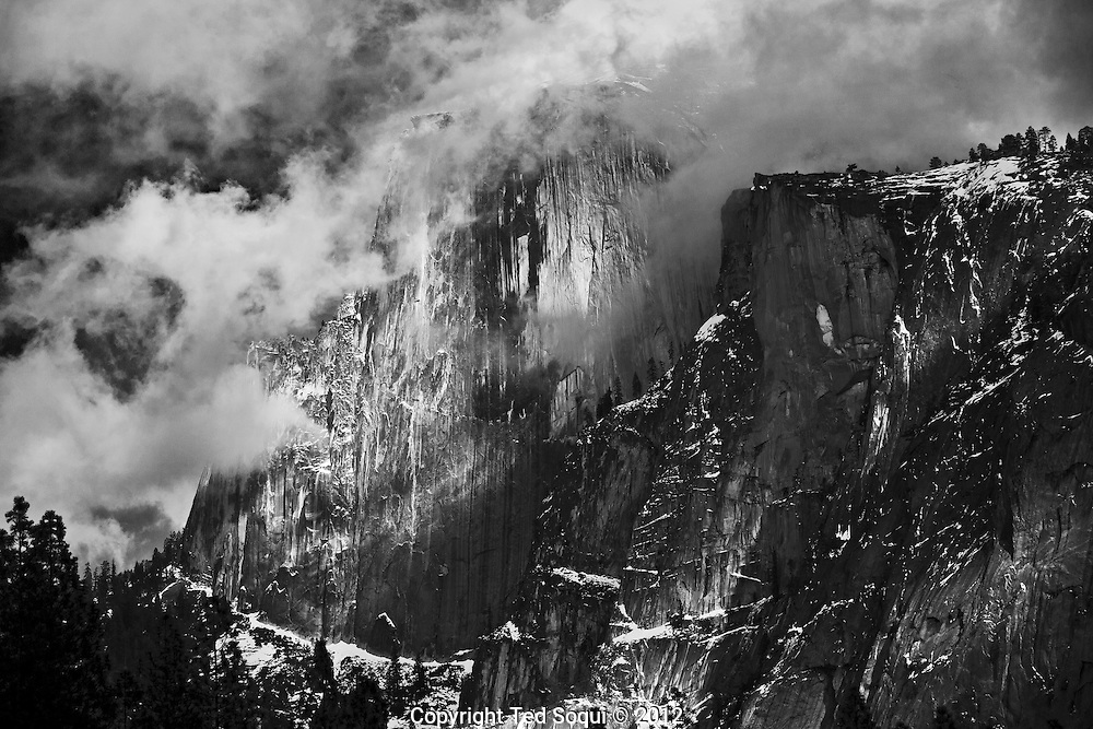 Winter time in Yosemite National Park..A winter view of Half Dome.