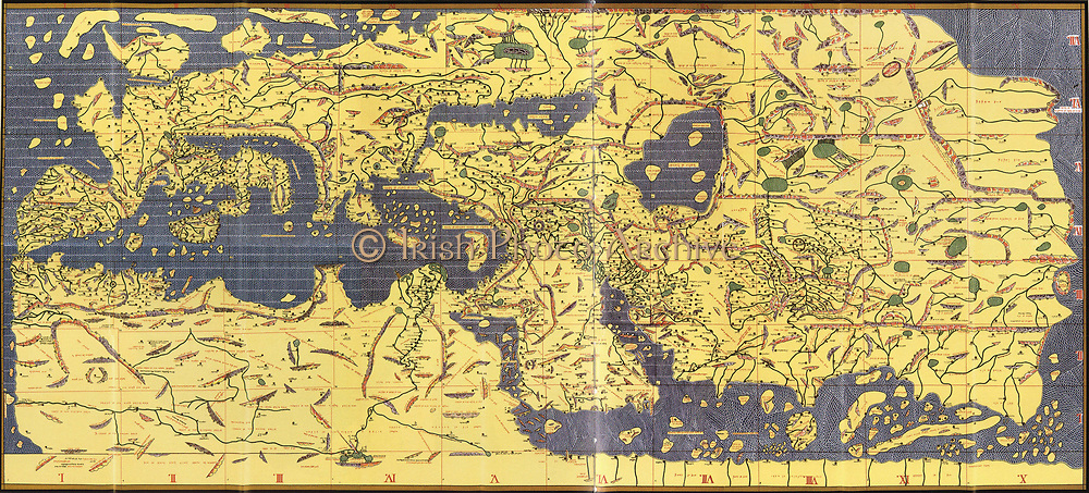 The 'Kitab Rudjdjar' or 'Tabula Rogeriana', an early world map the work of the Arab geographer Muhammad al-Idrisi (1100-1165) in 1154 for Roger II (1095-1154) King of Sicily from 1130. In this map, North is at the bottom.