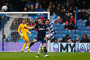 Rangers Defender Jake Bidwell &  County's Jack Marriott during the EFL Sky Bet Championship match between Queens Park Rangers and Derby County at the Loftus Road Stadium, London, England on 6 October 2018.