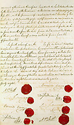 Treaty of Guadalupe-Hidalgo which ended the Mexican-American War 1846-1848.  Mexico was obliged to cede 525,000 square miles, 55% of its pre-war territory, to the United States of America for US$15 million to the United States of America, parts of today's Colorado, Arizona, New Mexico and Wyoming, plus the whole of California, Nevada and Utah.  The 1848 Treaty